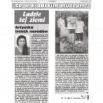 """""""Artystka trzech narodow,"""" Glos Ziemi Klodzkiej, Klodzko, Poland, April 1997."""