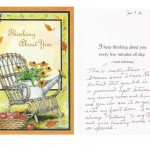 Thank you card from Gladys Hirten