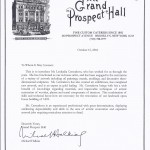 Letter from the Grand Prospect Hall