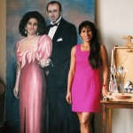 Posing next to a wedding scene that I painted