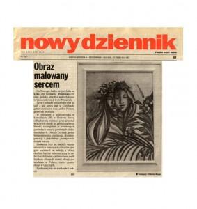 """Ringer, Elzbieta, """"Obraz Malowany Sercem,"""" Polish Daily News, New York, Oct. 4 1997"""