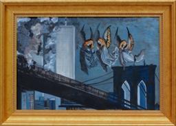 """Leokadia Makarska-Cermak, """"Złote anioły nad Dolnym Manhattanem, 11 września 2011"""""""